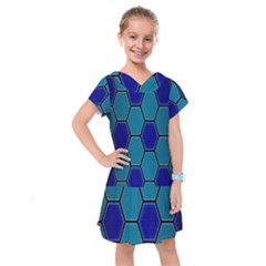 Hexagon Background Geometric Mosaic Kids  Drop Waist Dress