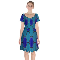 Hexagon Background Geometric Mosaic Short Sleeve Bardot Dress