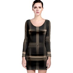 Metal Pattern Background Texture Long Sleeve Bodycon Dress