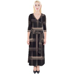 Metal Pattern Background Texture Quarter Sleeve Wrap Maxi Dress by Sapixe