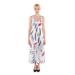 Watercolor Tablecloth Fabric Design Sleeveless Maxi Dress