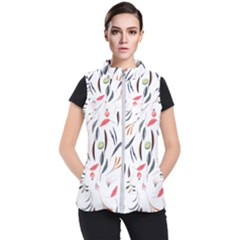 Watercolor Tablecloth Fabric Design Women s Puffer Vest by Sapixe