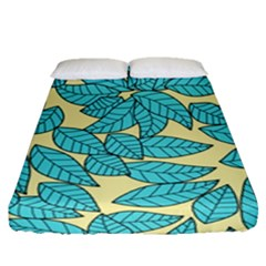 Leaves Dried Leaves Stamping Fitted Sheet (queen Size) by Sapixe