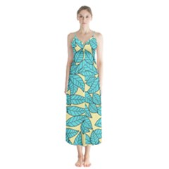 Leaves Dried Leaves Stamping Button Up Chiffon Maxi Dress