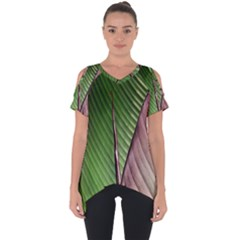 Leaf Banana Leaf Greenish Lines Cut Out Side Drop Tee by Sapixe