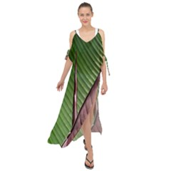 Leaf Banana Leaf Greenish Lines Maxi Chiffon Cover Up Dress