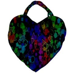 Rainbow Pattern Geometric Texture Giant Heart Shaped Tote by Sapixe