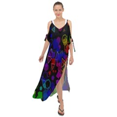 Rainbow Pattern Geometric Texture Maxi Chiffon Cover Up Dress by Sapixe