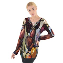 Tiffany Window Colorful Pattern Tie Up Tee