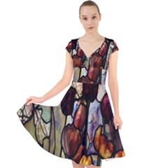 Tiffany Window Colorful Pattern Cap Sleeve Front Wrap Midi Dress