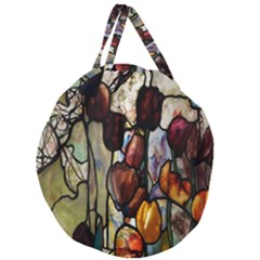 Tiffany Window Colorful Pattern Giant Round Zipper Tote