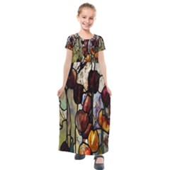 Tiffany Window Colorful Pattern Kids  Short Sleeve Maxi Dress by Sapixe