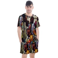 Tiffany Window Colorful Pattern Men s Mesh Tee And Shorts Set