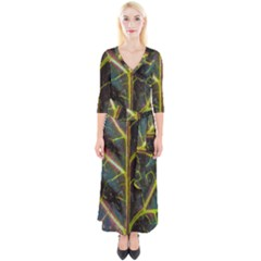 Leaf Abstract Nature Design Plant Quarter Sleeve Wrap Maxi Dress