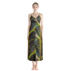 Leaf Abstract Nature Design Plant Button Up Chiffon Maxi Dress
