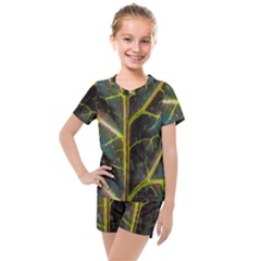 Leaf Abstract Nature Design Plant Kids  Mesh Tee And Shorts Set