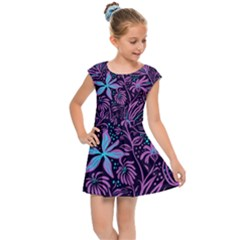 Stamping Pattern Leaves Drawing Kids Cap Sleeve Dress