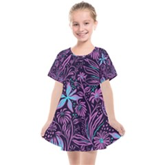 Stamping Pattern Leaves Drawing Kids  Smock Dress