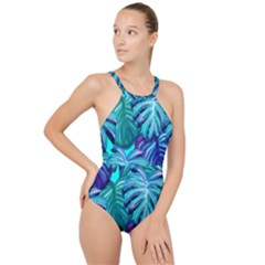 Leaves Tropical Palma Jungle High Neck One Piece Swimsuit