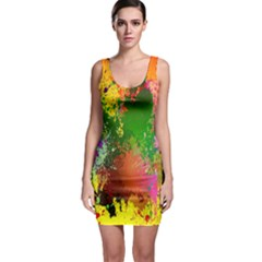 Embroidery Dab Color Spray Bodycon Dress