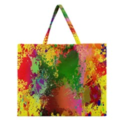 Embroidery Dab Color Spray Zipper Large Tote Bag