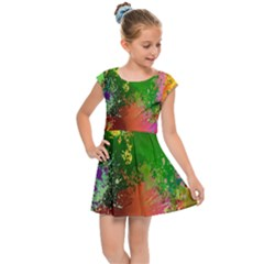 Embroidery Dab Color Spray Kids Cap Sleeve Dress