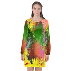 Embroidery Dab Color Spray Long Sleeve Chiffon Shift Dress