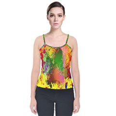 Embroidery Dab Color Spray Velvet Spaghetti Strap Top