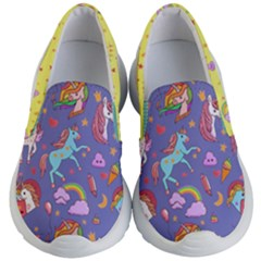 Medium Purple Fun Unicorn Pattern Kid s Lightweight Slip Ons