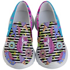 Colorful Unicorn & Stripes Theme Kid s Lightweight Slip Ons