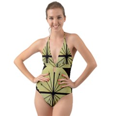 Window About Glass Metal Weathered Halter Cut Out One Piece Swimsuit