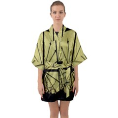 Window About Glass Metal Weathered Quarter Sleeve Kimono Robe
