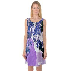 Blossom Bloom Floral Design Sleeveless Satin Nightdress by Sapixe