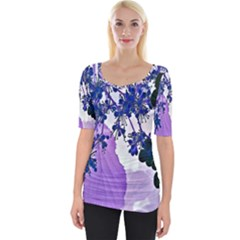 Blossom Bloom Floral Design Wide Neckline Tee by Sapixe