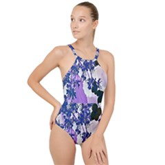 Blossom Bloom Floral Design High Neck One Piece Swimsuit