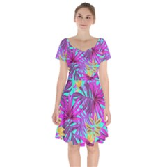 Tropical Greens Leaves Design Short Sleeve Bardot Dress