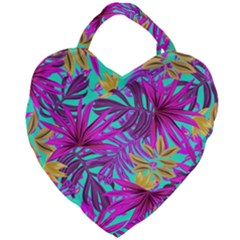 Tropical Greens Leaves Design Giant Heart Shaped Tote