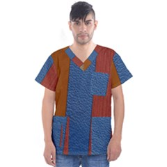 Leather Background Structure Orange Men s V Neck Scrub Top