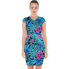 Leaves Picture Tropical Plant Capsleeve Drawstring Dress