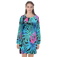 Leaves Picture Tropical Plant Long Sleeve Chiffon Shift Dress