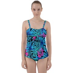 Leaves Picture Tropical Plant Twist Front Tankini Set
