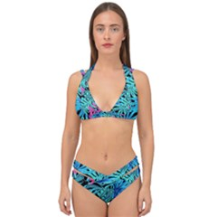 Leaves Picture Tropical Plant Double Strap Halter Bikini Set by Sapixe