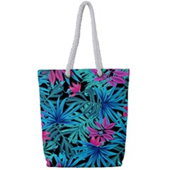 Leaves Picture Tropical Plant Full Print Rope Handle Tote (small)
