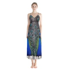 Peacock Bird Animals Pen Plumage Button Up Chiffon Maxi Dress