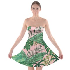 Tropical Greens Leaves Design Strapless Bra Top Dress