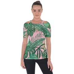 Tropical Greens Leaves Design Shoulder Cut Out Short Sleeve Top