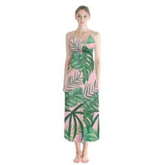 Tropical Greens Leaves Design Button Up Chiffon Maxi Dress