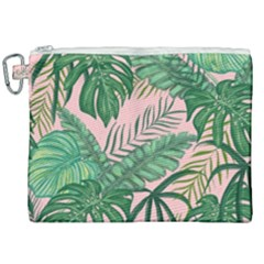 Tropical Greens Leaves Design Canvas Cosmetic Bag (xxl)