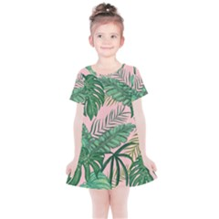 Tropical Greens Leaves Design Kids  Simple Cotton Dress