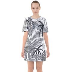 Drawing Leaves Nature Picture Sixties Short Sleeve Mini Dress